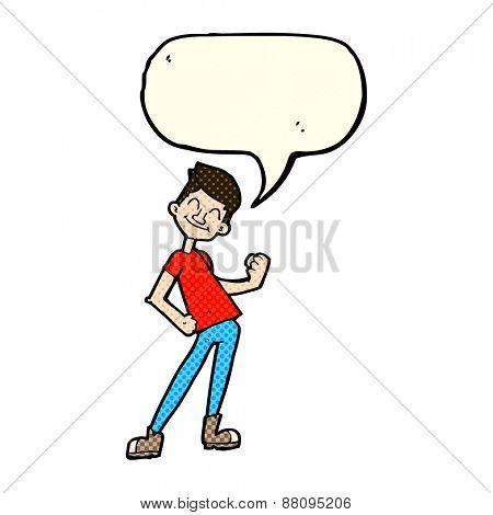 cartoon celebrating man with speech bubble