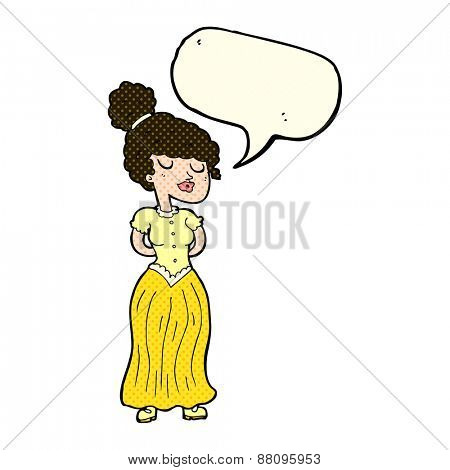 cartoon pretty Victorian woman with speech bubble