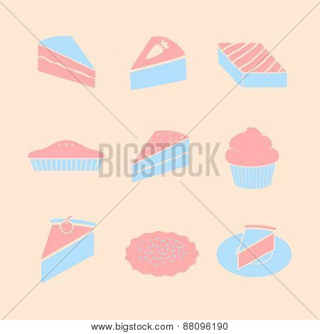 sweet baked goods symbols set