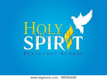 Holy spirit dove flame card blue