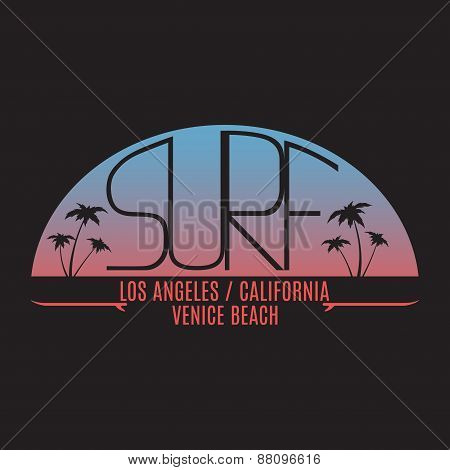 Stamp Of California Surfing For Typography