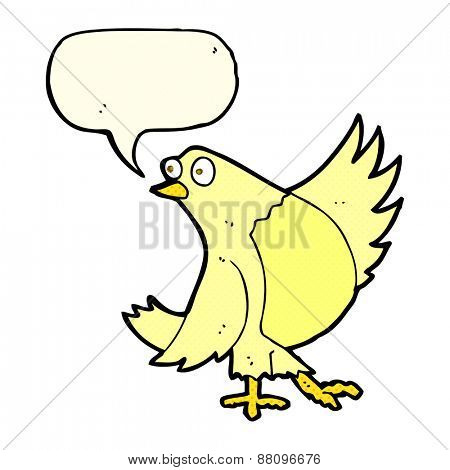 cartoon dancing bird with speech bubble