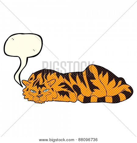 cartoon resting tiger with speech bubble