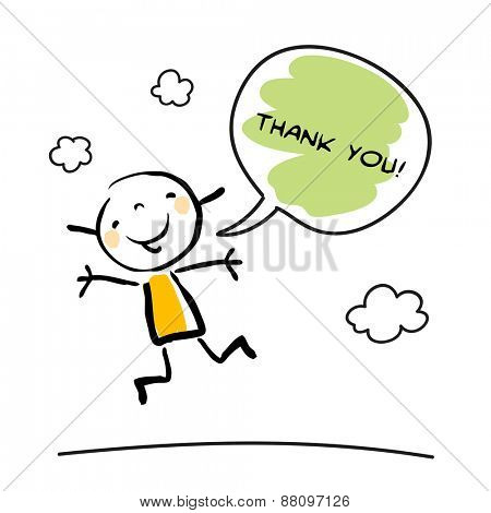 Thank you card with happy kid jumping, saying thank you in a speech balloon. Cartoon sketch, doodle, vector illustration.