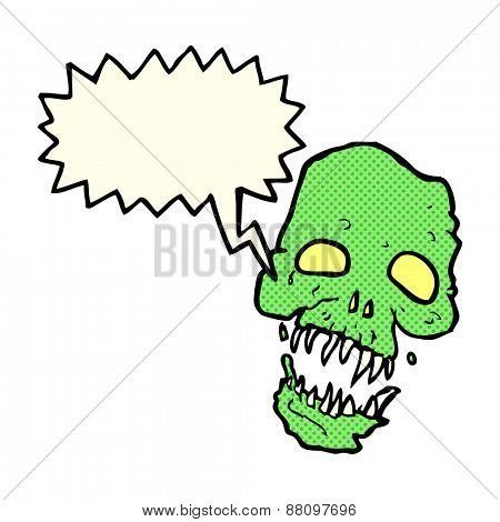 cartoon scary skull with speech bubble