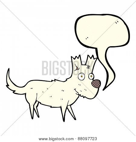 cartoon cute little dog with speech bubble