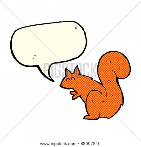 cartoon red squirrel with speech bubble