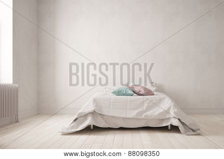 Simple bedroom with a big double bed on the wall (3D Rendering)