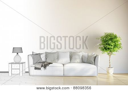 Room planning of living room from CAD mesh to 3D Rendering