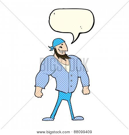 cartoon manly sailor man with speech bubble