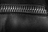 pic of zipper  - Black leather texture with metal zipper - JPG