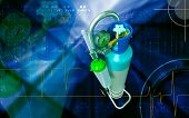 pic of oxygen  - Digital illustration of oxygen cylinder in colour background - JPG