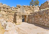 picture of gate  - The view on the ancient gate from the famous citadel of Mycenae Greece - JPG