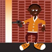 stock photo of gangster  - Vector illustrated afro american gangster with gun - JPG