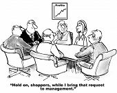 foto of rep  - Cartoon of business management who learn real time from shoppers what needs they have - JPG