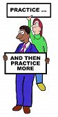 stock photo of  practices  - Cartoon of businesspeople holding signs that say - JPG