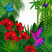 pic of tropical birds  - Tropical floral design background with bird - JPG