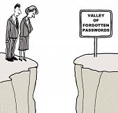 pic of cartoon people  - Cartoon of two business people looking down at the Valley of Forgotten Passwords - JPG