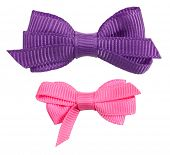 stock photo of ribbon bow  - Two decorative ribbon bow ties purple pink - JPG