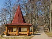 foto of gazebo  - Beautiful wooden gazebo in the park - JPG