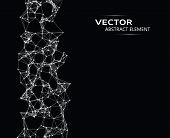 picture of cybernetics  - Vector element of abstract cybernetic particles on black background - JPG