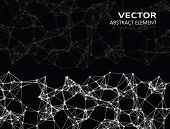 pic of cybernetics  - Vector abstract cybernetic particles on black background - JPG