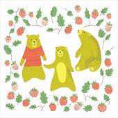 pic of cute bears  - Cute bears and raspberrys in cartoon style - JPG