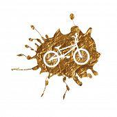 picture of dirt-bike  - BMX Bike on Golden Splash Background Vector Illustration - JPG