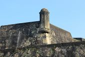 foto of observed  - the stone walls and observation tower of an ancient Fort on the blue sky background - JPG