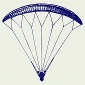 picture of parachute  - Man jumping with parachute - JPG