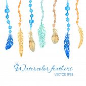 stock photo of dream-catcher  - Set of ethnic multicolored feathers - JPG