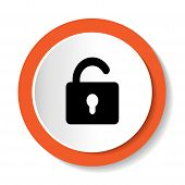foto of lock  - Round vector orange icon to open the lock - JPG