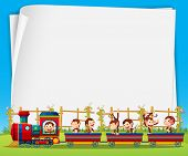 stock photo of train-wheel  - Banner with monkeys riding on the train background - JPG