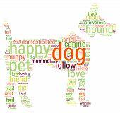 pic of dog tracks  - Dog shaped dog word cloud on a white background - JPG