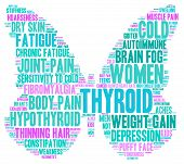 foto of fibromyalgia  - Butterfly shaped thyroid word cloud on a white background in the colors of the thyroid cancer ribbon - JPG