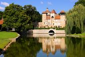 picture of chateau  - Medieval Chateau de Sercy with reflections in the Burgundy region of France - JPG