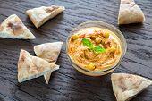 foto of pita  - A Bowl Of Hummus With Pita Slices - JPG