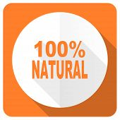pic of 100 percent  - natural orange flat icon 100 percent natural sign  - JPG