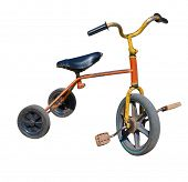 stock photo of tricycle  - old vintage tricycle children bicycle - JPG
