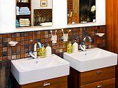 foto of lavabo  - Double wash basin in luxury elegant bathroom - JPG