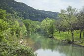 pic of guadalupe  - The Guadalupe River below cliffs of the Texas Hill Country during Spring - JPG