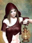 stock photo of little red riding hood  - Fantasy Little Red Riding Hood with a lamp - JPG