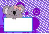 image of koalas  - cute baby koala girl background in vector format very easy to edit - JPG