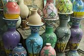picture of pottery  - Rows of earthenware Pottery in Nizwa - JPG