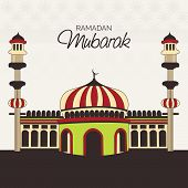 image of ramadan mubarak  - illustration of a colorful mosk for Ramadan Mubarak - JPG