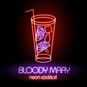 stock photo of bloody mary  - Neon Sign - JPG