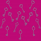stock photo of skeleton key  - pattern of the keys with a pattern - JPG