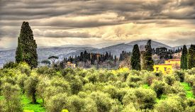 stock photo of apennines  - View of Florence and Apennine Mountains in Italy - JPG