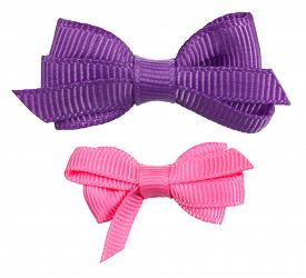 foto of bowing  - Two decorative ribbon bow ties purple pink - JPG