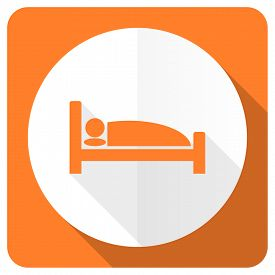 pic of flat-bed  - hotel orange flat icon bed sign  - JPG